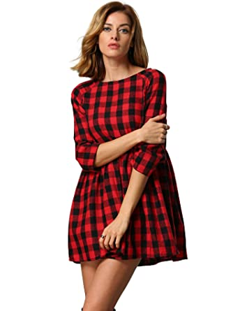 75b546078 SOLY HUX Mujer Vestidos Corto Manga Larga Cuello Redondo Cuadros -Rojo Negro
