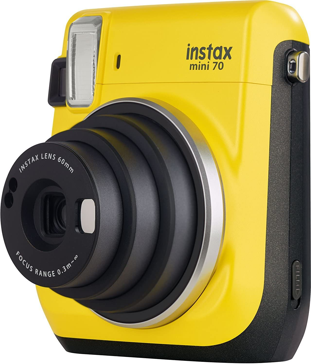 Fujifilm Instax Mini 70 - Cámara analógica instantánea (ISO 800, 0.37x, 60 mm, 1:12.7, Flash automático, Modo autorretrato, exposición automática, Temporizador, Modo Macro), Amarillo Canario: Amazon.es: Electrónica