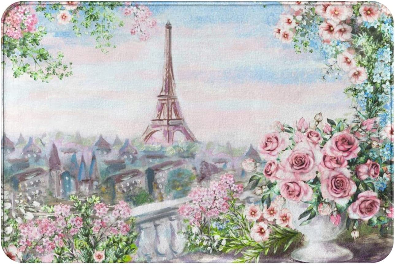 Paris Bath Mat for Bathroom Eiffel Tower Rose Garden Absorbsent Non Slip Bathmats Soft Thick Rug for Shower Or Kitchen Sink Small Indoor Entrance Welcome Floor Rugs Home Decor