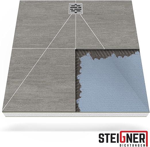 STEIGNER Receveur de Douche Mineral Plus Drain D/écentralis/é Position 2 Drain Horizontal Plaque en EPS 90x140 cm