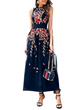 BerryGo Women s Elegant Floral Embroidered Mesh Lace Dress Cocktail  Sleeveless Navy a5fde5dd59ab