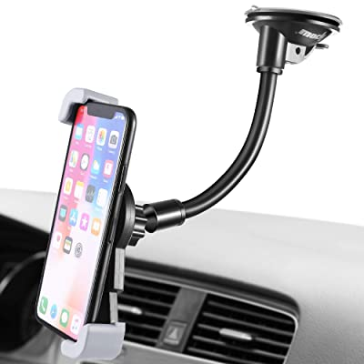 IPOW Car Phone Mount, Diagonal Clamp Full-View Windshield/Dashboard Car Phone Holder with Strong Suction Cup& Bendable Goose Arm Compatible with iPhone X 8Plus 7Plus 6sPlus 6Plus Galaxy S7 S9 J7V