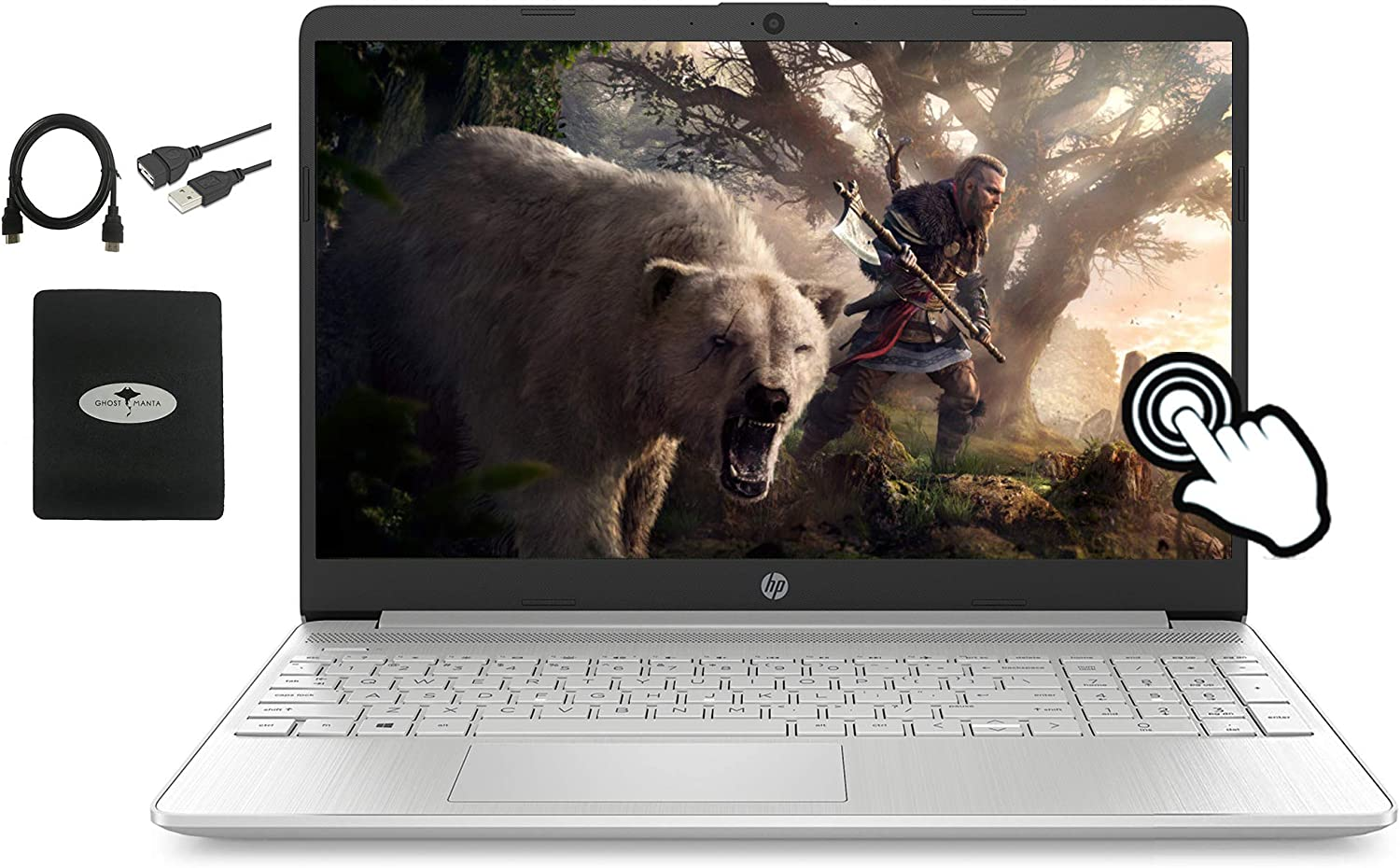 2021 Newest HP 15.6 FHD IPS Touchscreen Laptop,10th Gen Intel Quad-Core i5-1035G1 (Up to 3.60GHz, Beat i7-8550U), 16GB RAM, 512GB SSD, Fast charge, Webcam, HDMI, Wifi, Win10, w/Ghost Manta Accessories
