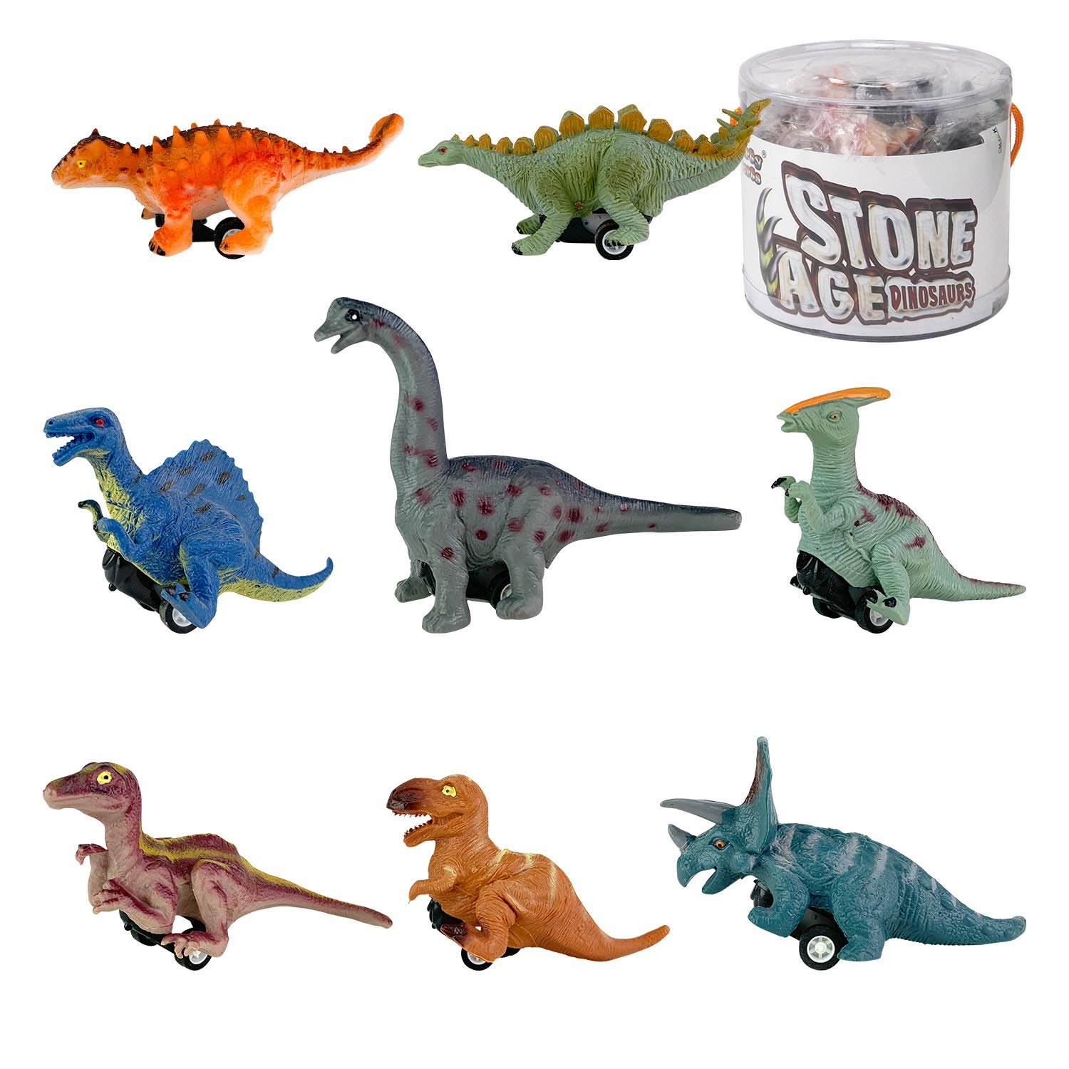 Liberty Imports Bucket of 8 Pull Back Dinosaur Cars Mini Dino Figures Toy Vehicles for Boys Girls Creative Gifts for Kids