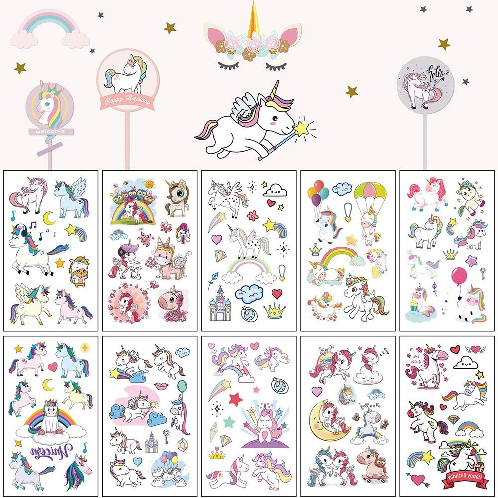 Waterproof Safe Non-Toxic Removable Decorations Rainbow Fake Tattoos for Girls Boys for Birthday Party fidget pencil 10 Sheets Unicorn Temporary Tattoos for Kid Children