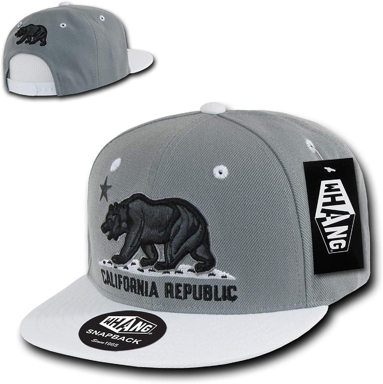 Black White California Bear Classic Flat Bill Cap
