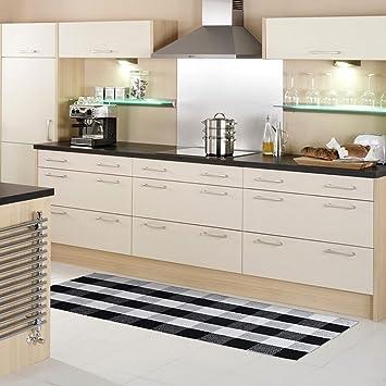 Amazon.com: Ukeler Cotton Rug Hand-woven Checkered Kitchen Rugs Non ...
