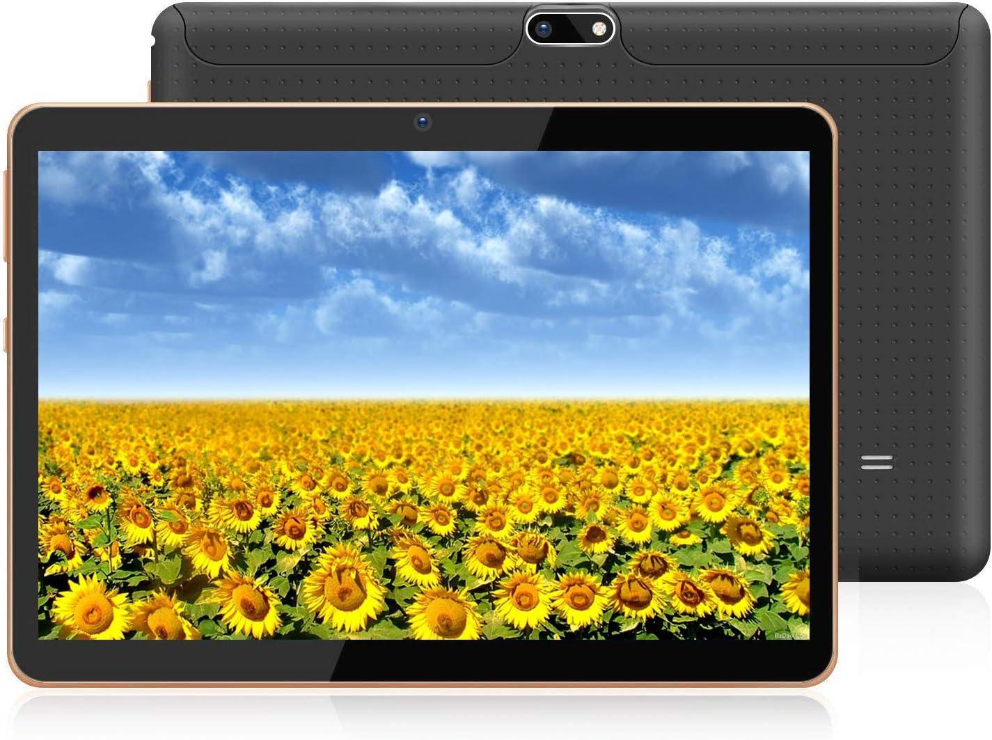 Tableta Android HXY con Pantalla IPS de Alta definición de 10.0 Pulgadas, Tableta Android 9.0 y 2 Ranuras para Tarjetas SIM, Quad-Core, 1.3GHz, 4GB + 64GB, Bluetooth, WLAN, GPS, cámara Dual, (Negro)