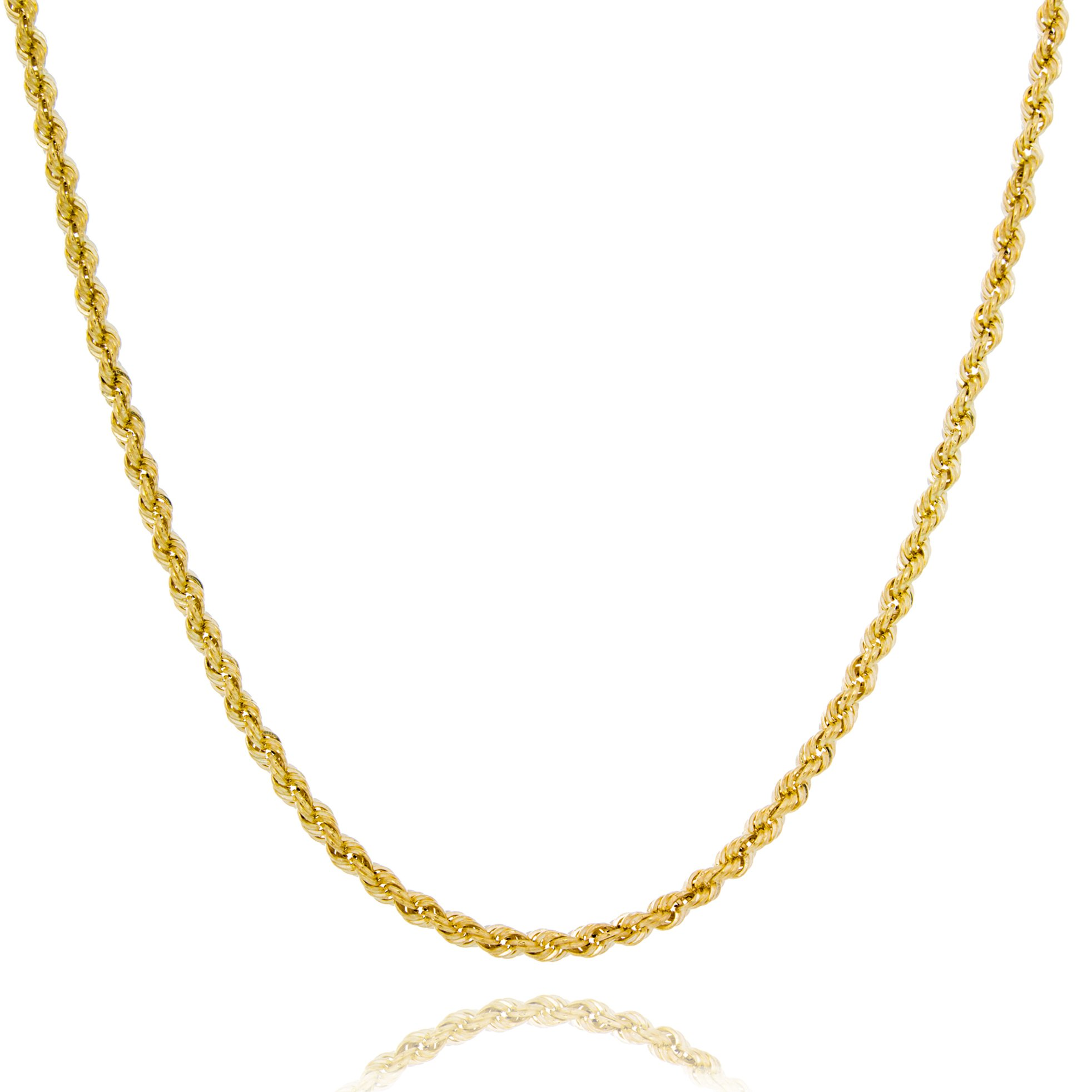 Solid Gold 14K Hollow French Rope Lightweight Chain Necklace Made in Italy 2mm Wide by 24'' Long   2.4g