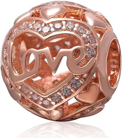 Rose Gold Love Charm 925 Sterling Silver Heart Charm Openwork Charm Family  Charm Anniversary Charm for Pandora Charm Bracelet