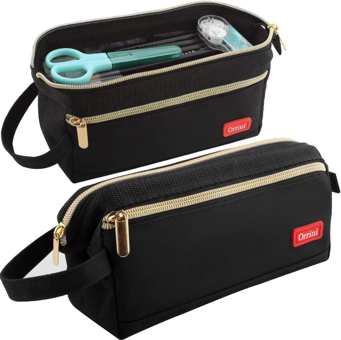 Orrini Pencil Case Pen Case Pencil Bag Organizer Holder,Makeup Pouch for School Office Teen Boys Girls Students Adults (Black)