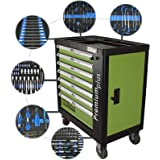 TrutzHolm® Werkstattwagen Premium XXL bestückt Profi-Werkzeug aus Chrom-Vanadium 7 Schubladen und ein Seitenfach gefüllt Assistent Werkzeugwagen