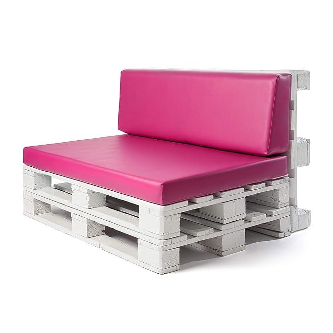 Conjunto colchoneta para sofas de palet y respaldo Fucsia (1 x Unidad) Cojin relleno con espuma. | Cojines para chill out, interior y exterior, jardin ...