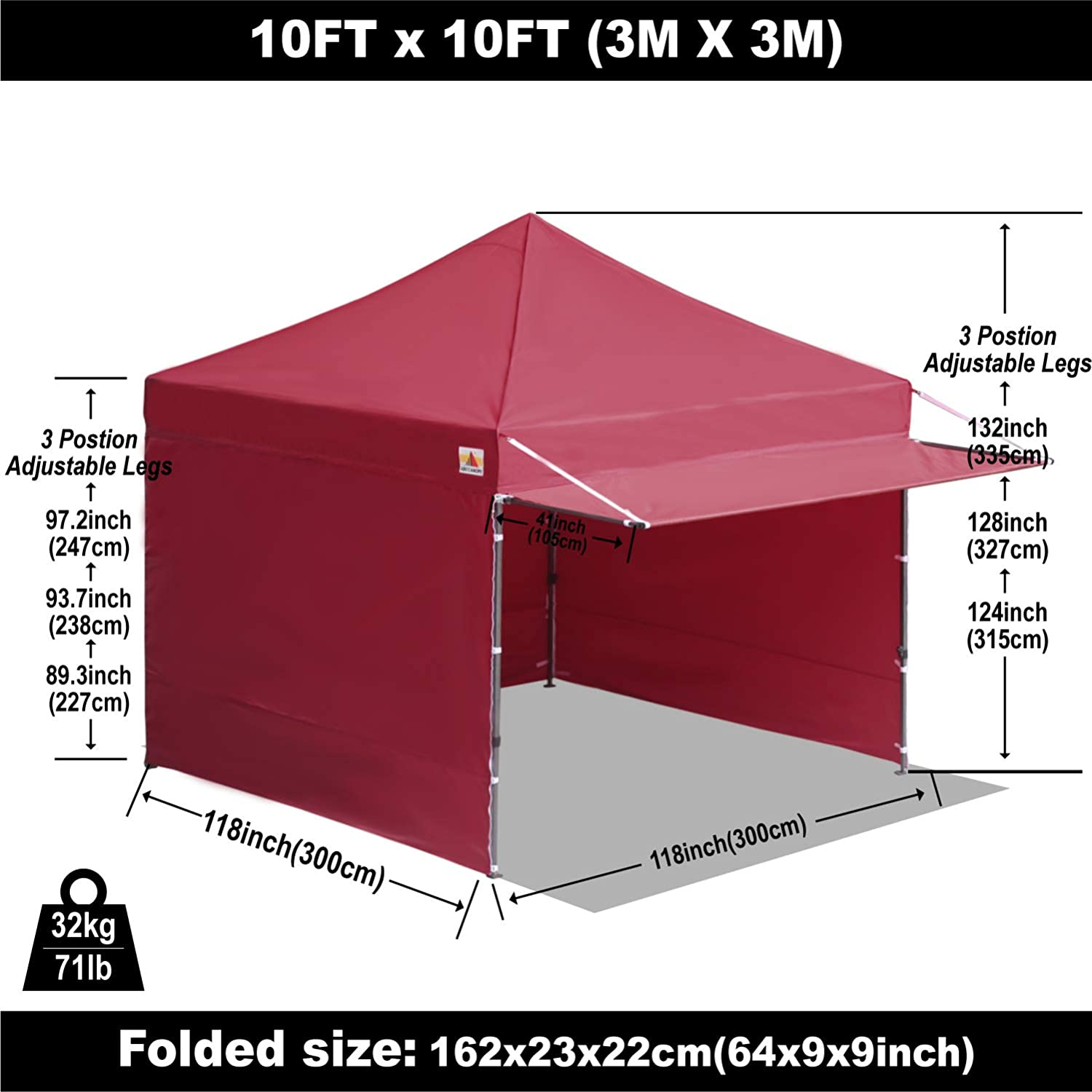 Weight Bags ABCCANOPY Canopy Tent 10 x 10 Pop-up Instant Shelters Commercial Portable Market Canopies with Matching Sidewalls Roller Bag,Bonus Canopy Awning