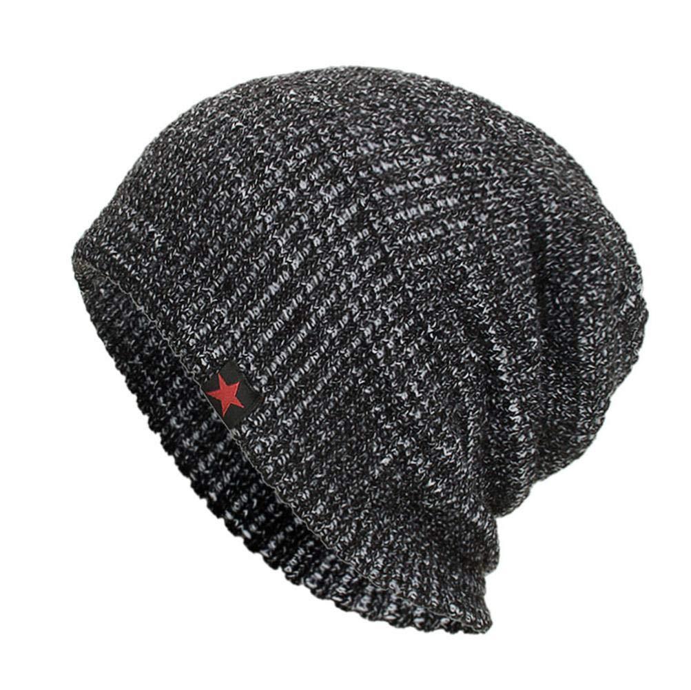 Leey Unisex Berretto invernale da donna in lana lavorata a maglia con maniche lunghe lavorato a crochet Unisex Berretti in maglia Bombette Unisex Arcylic Passamontagna (Cachi)
