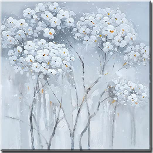Modern Floral Decor White Flower Framed \ Unframed Oil Painting on Canvas