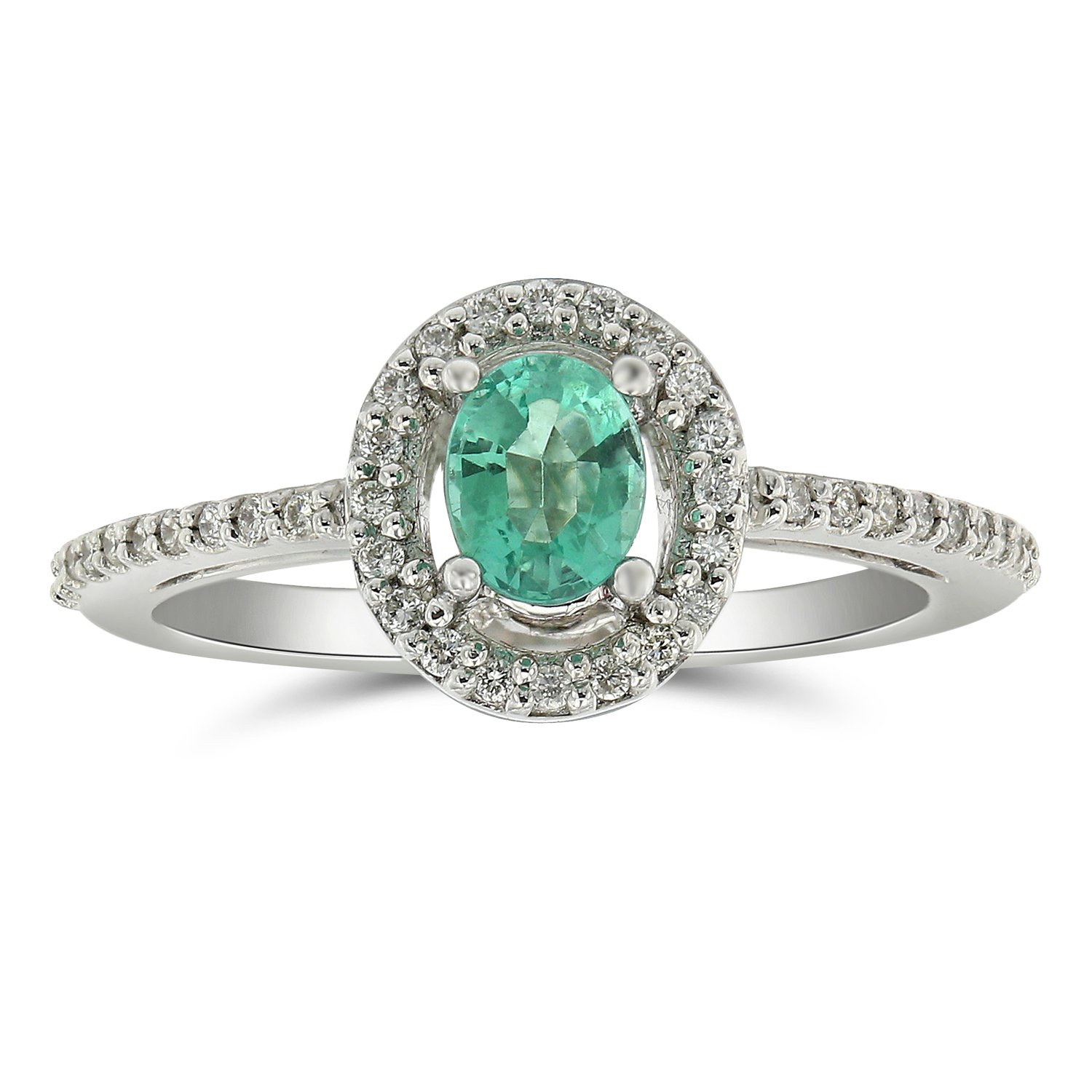 Almost all Sold Out !!,Jewel Ivy 14K White Gold Ring with Emerald and Diamond, Royal, Luxury Look, Best Gift For Friend, Girlfriend, Wife, Size- US-5.5