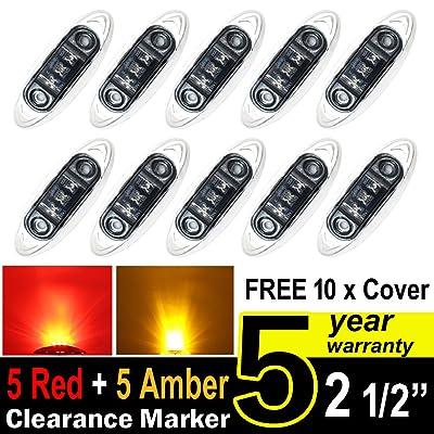TMH Mini Side Led Marker (QR Model) Smoked Lens 5 Pcs Amber Light + 5 pcs Red Light + Chrome Bezel, Universal LED Clearance Markers Truck Trailer Boat ATV Marine Marker lights, side marker lights: Automotive