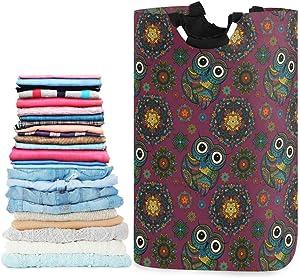 visesunny Boho Ornamental Owl Animal Large Laundry Hamper with Handle Foldable Durable Clothes Hamper Laundry Bag Toy Bin for Bathroom, Bedroom, Dorm, Travel
