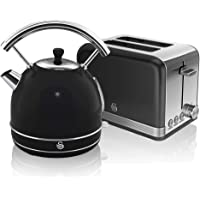 Swan, Retro Kitchen Kettle and Toaster Set, 1.7L Dome Kettle, 2 Slice Toaster,