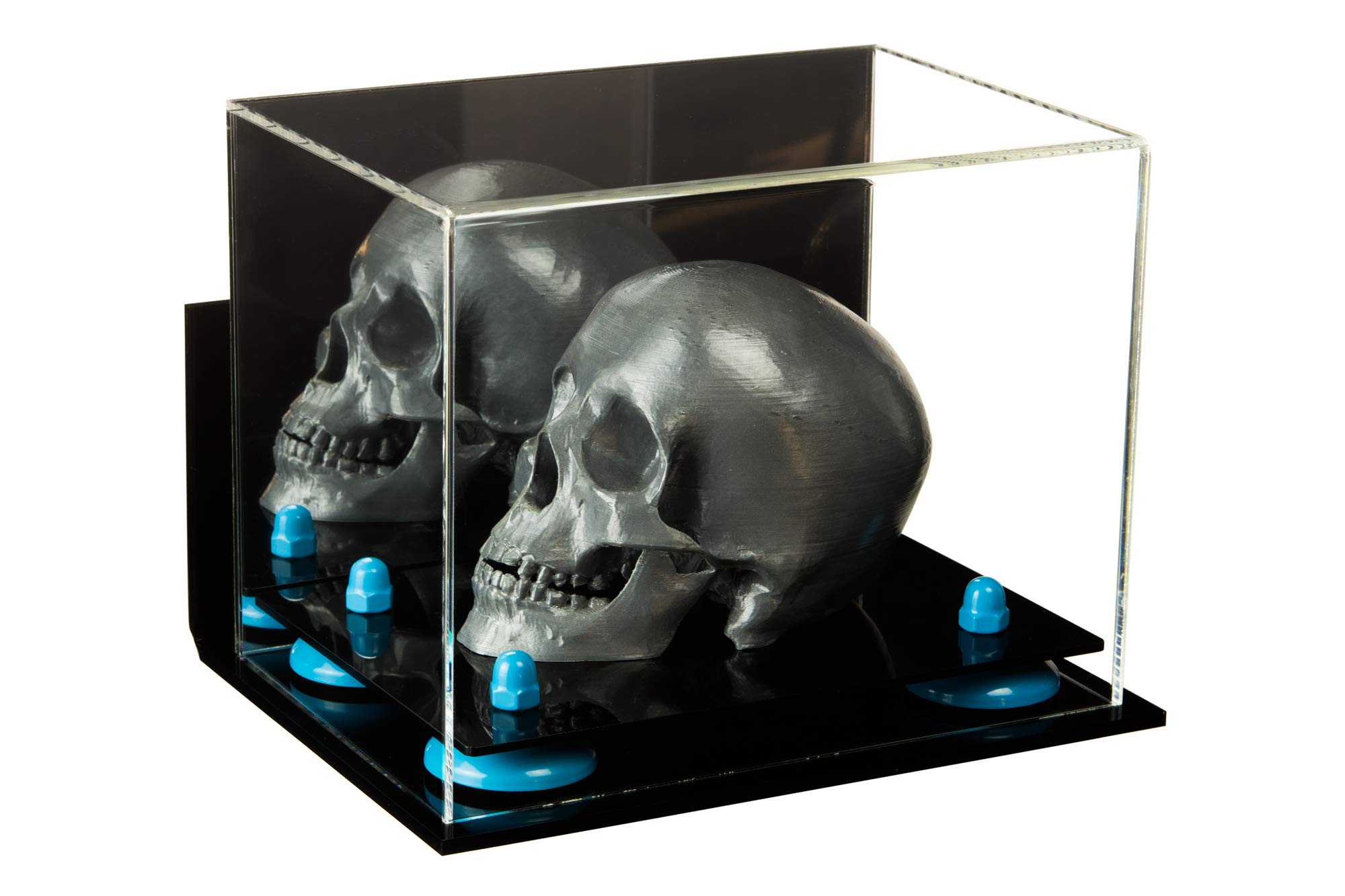 Versatile Deluxe Acrylic Display Case - Small Rectangle Box with Mirror, Wall Mount and Blue Risers 8.25'' x 5.5'' x 6'' (A003-BLR)