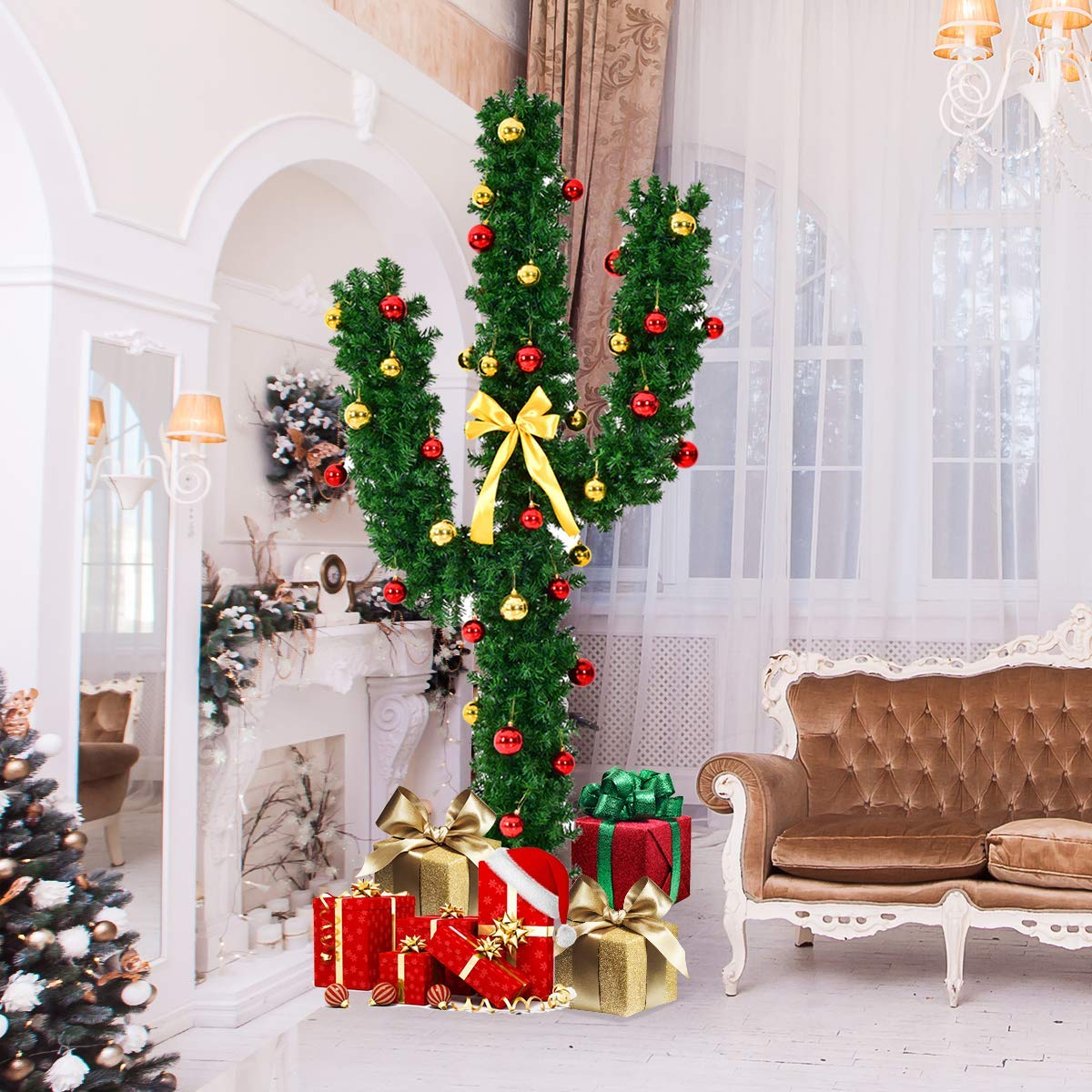 Goplus Pre-Lit Artificial Cactus Christmas Tree with LED Lights and Ball Ornaments