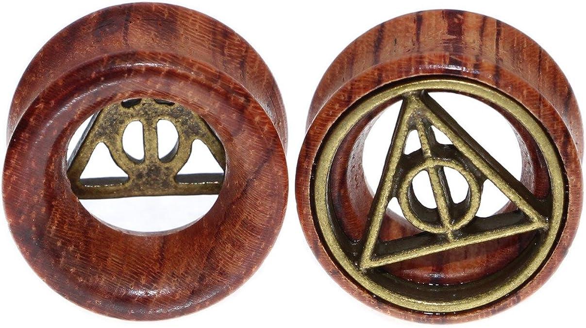 Dilatador para oreja de madera orgánica con motivo de reliquias de ...