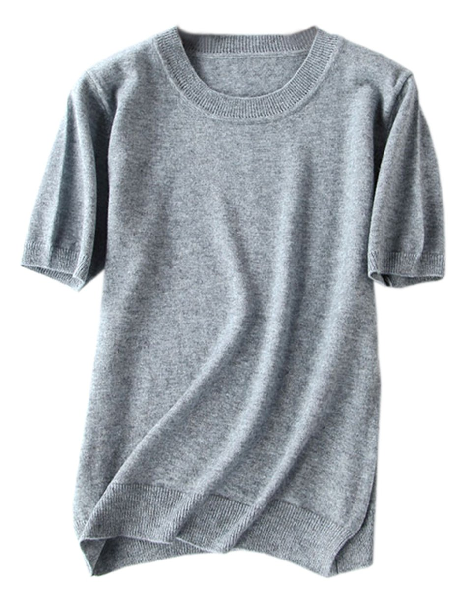 Women's Short Sleeves Knitted Cashmere Sweater Tops T Shirt Blouse, Light Grey, Tag XL = US 8