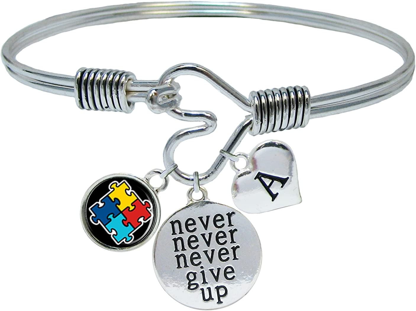 Sports Accessory Store Custom Autism Awareness Ribbon Never Give Up Bracelet Choose Initial