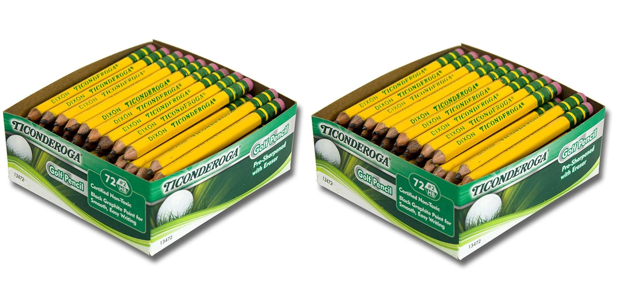 Ticonderoga DIX13472 Golf Pencil, Yellow (72 Count) (2-Pack of 72)