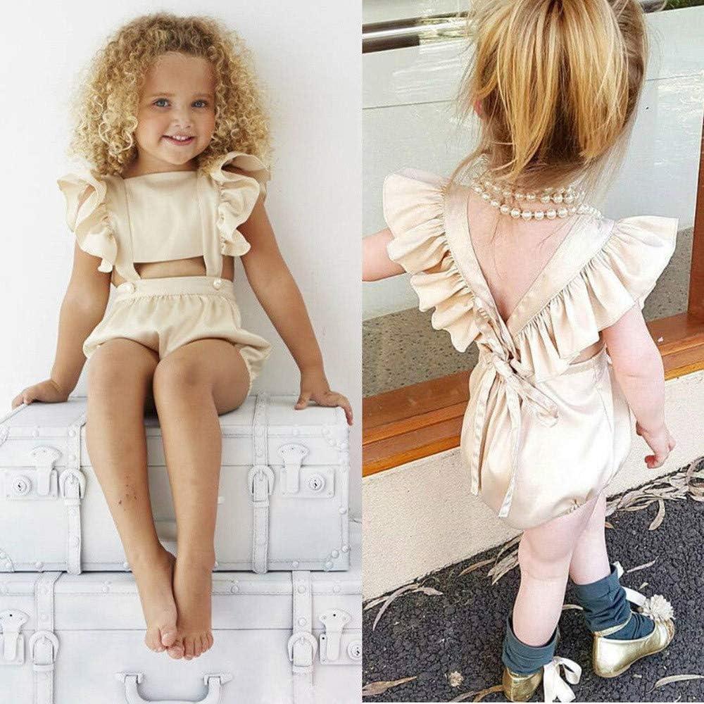 Toddler Baby Girls Kids Outfits Ruffles Romper Jumpsuit Sunsuit Playsuit Clothes 80-110 Xturfuo Jumpsuit Clothes