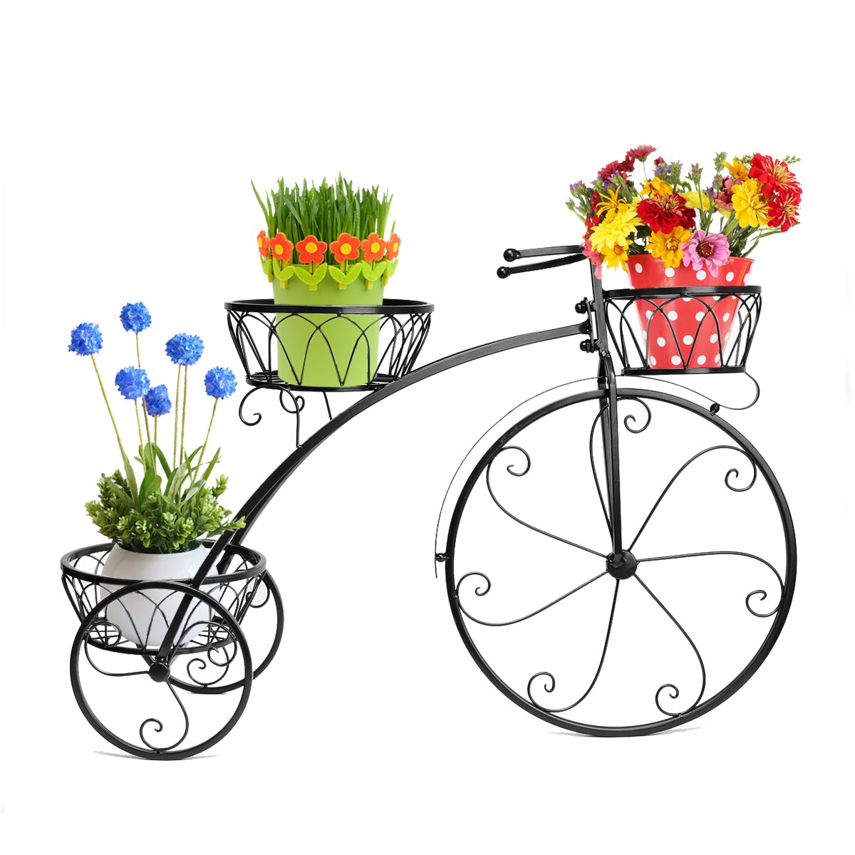 Dazone® Exquisite Balcony Bike Plant Pot Tray Tron Stable Multi-layer Flower Pot Holder Bicycle Flower Frame Stand Pergolas (Black) by DAZONE