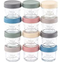 Glass Baby Food Storage Containers | Set of 12 | 4 oz Glass Baby Food Jars with Lids | Freezer Storage | Reusable Small Glass Baby Food Containers | Microwave & Dishwasher Safe | for Infant & Babies