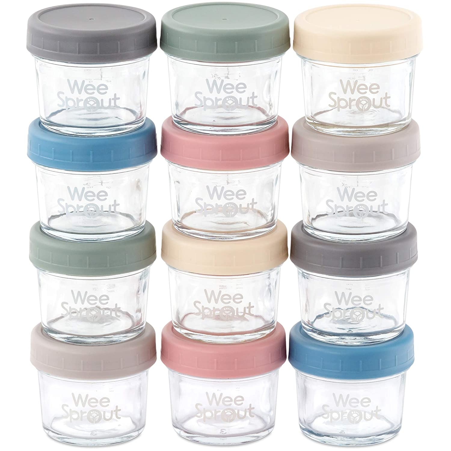 Glass Baby Food Storage Containers | Set of 12 | 4 oz Glass Baby Food Jars with Lids | Freezer Storage | Reusable Small Glass Baby Food Containers | Microwave/Dishwasher Friendly | for Infant & Babies