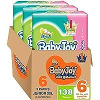 BabyJoy Compressed Diamond Pad, Size 6, Junior XXL, 16+ kg, Giant Box, 138 Diapers