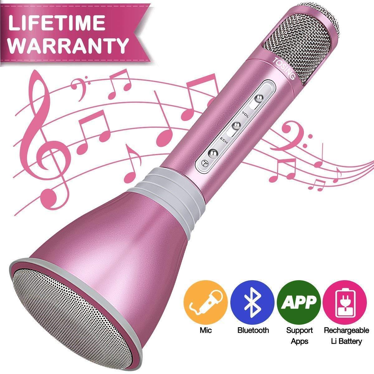 HooYL Microphone Bluetooth sans Fil Portable Karaoke Player Enregistrement des Chansons Compatible avec Apple iPhone Android Smartphone PC iPad pour Jouer de la Musique, Chanter (Or Rose) product image