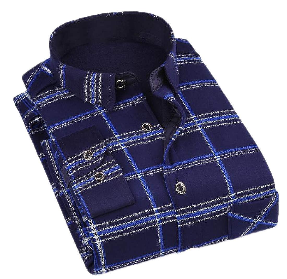 YUNY Men Long-Sleeve Brumal Floral Printed Thicken Warm Fleece Fit Shirt 13 L