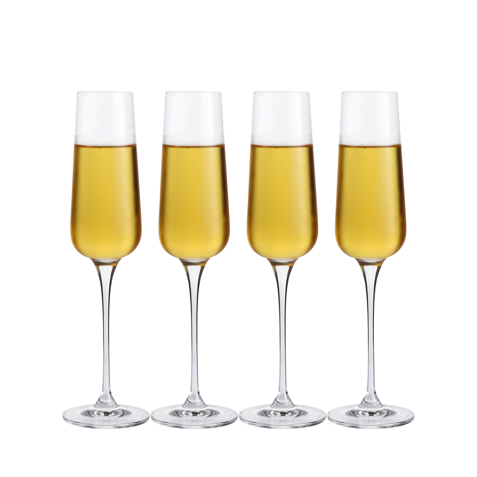 Crystal Champagne Flutes Glasses Set of 4 - Machine Made Glass 100% Lead Free 8 Ounce