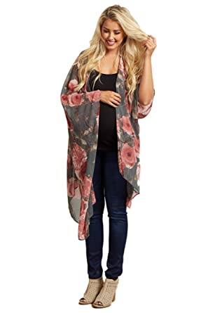 b479f6674d322 PinkBlush Maternity Floral Chiffon Open Front Kimono at Amazon Women's  Clothing store: