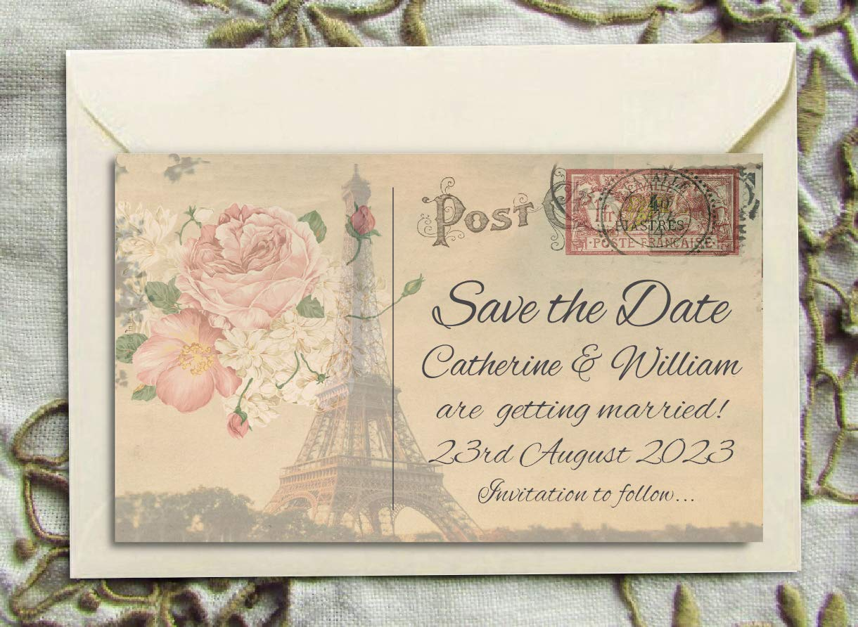 Invitations Home & Kitchen Wedding Invitations 15x10cm Vintage Postcard  Design With Choice of Envelopes Pack of 50 Personalised Wedding Invites