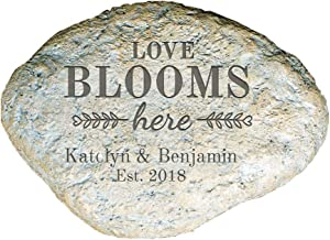GiftsForYouNow Engraved Love Blooms Here Personalized Garden Stone