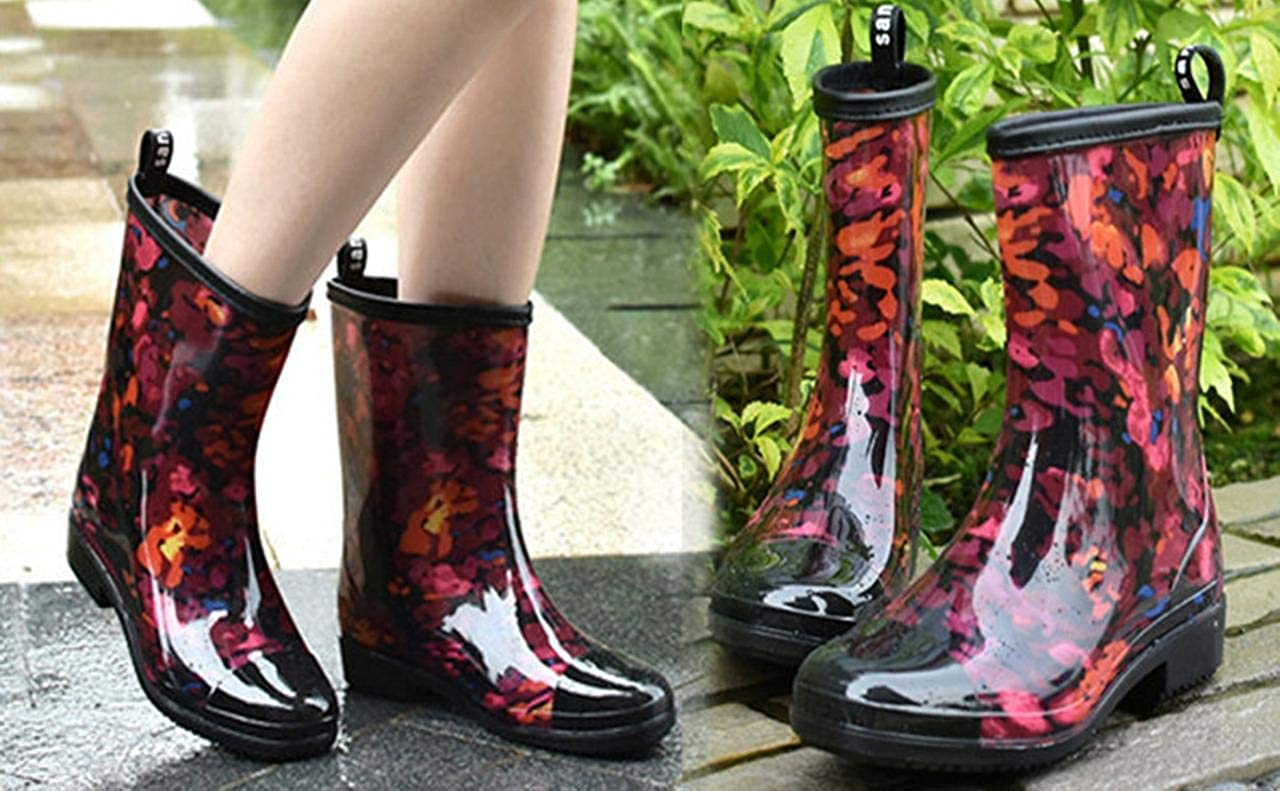 92da91bc6ab8f Jiu du Women's Block Heel Waterproof Rain Boots and Garden Round Toe  Fashion Rain Shoes