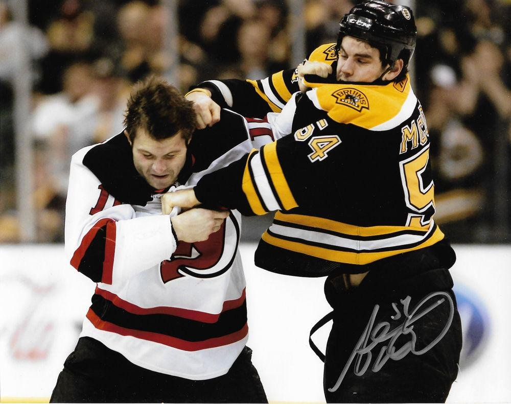 Adam McQuaid Signed Photograph - Fight 8x10 - Autographed NHL Photos Sports Memorabilia
