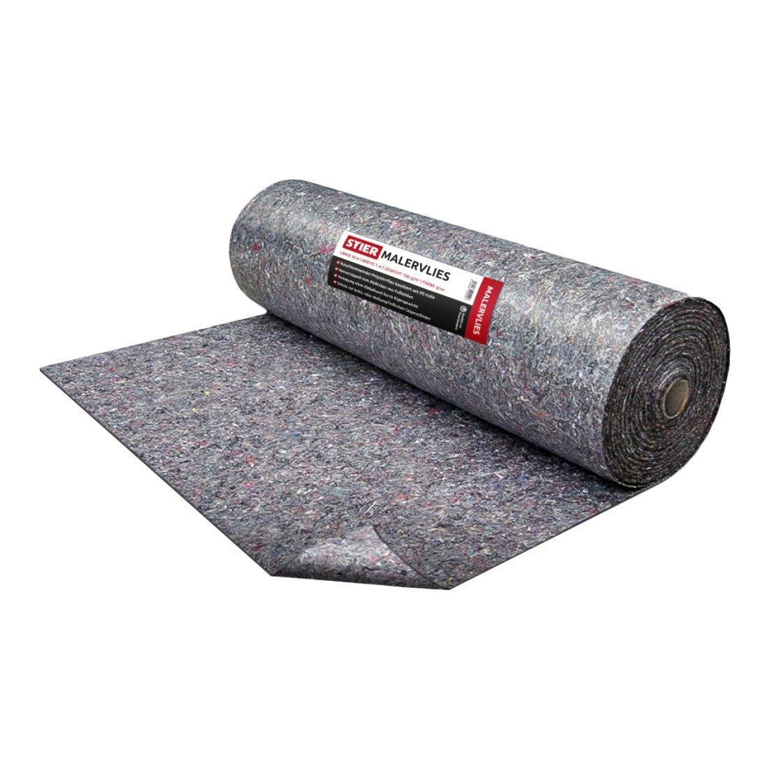 Stier Feltro protettivo per pittura in tessuto non tessuto I Peso 200/g//m/² I 1/m x 50/m I Protezione per superfici in tessuto non tessuto di qualit/à Premium grigio I Rivestimento antiscivolo in polietilene