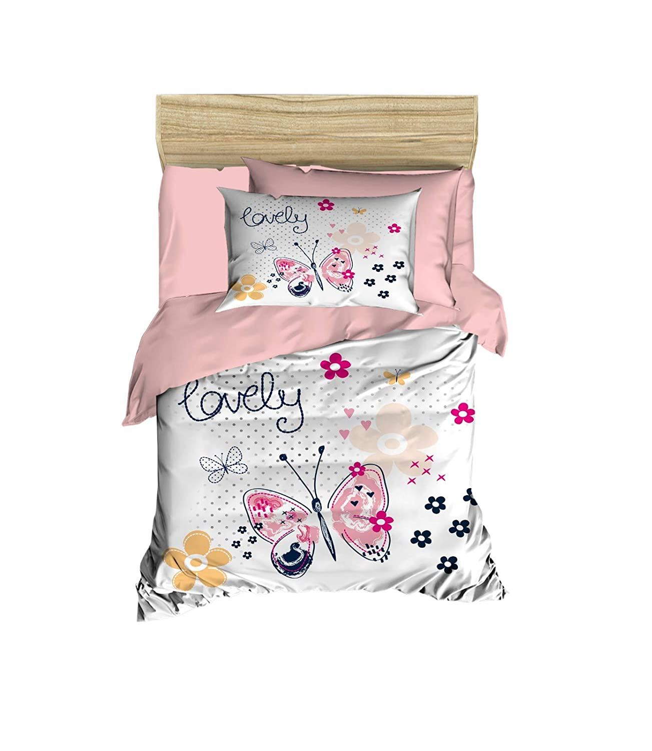 100% Cotton Baby Bedding Flower and Butterfly Themed Nursery Baby Bed Set, Toddlers Crib Bedding for Baby Girls, Duvet Cover Set with Comforter, 5 Pieces 71NiMis2ZEL