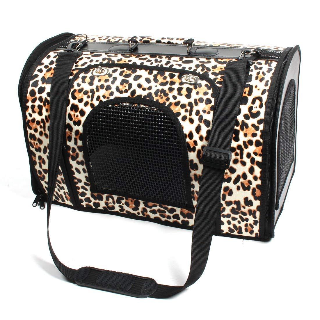 Leopard Pattern Outdoor Camping Pet Puppy Cat Zipper Closure Portable Training Carrier Carrying Kennel Handbag 48.5 x 28.5 x 32cm