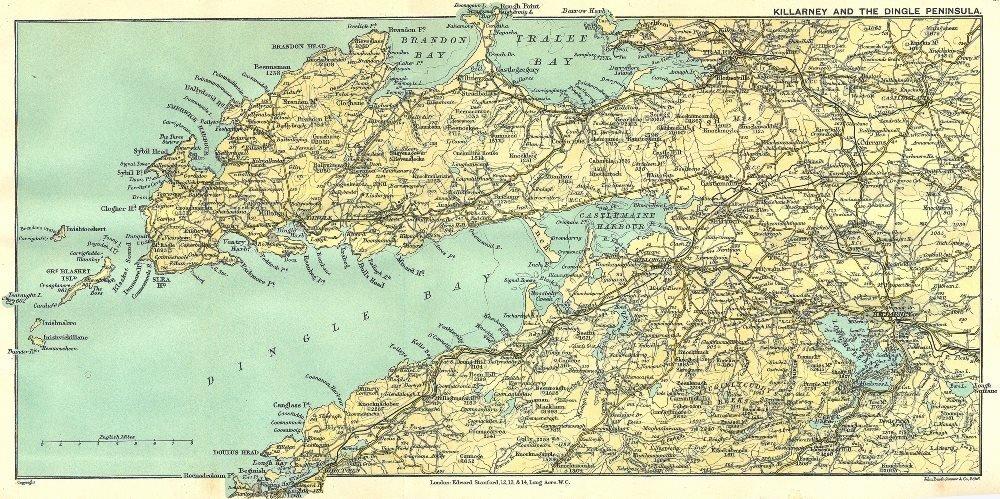 Dingle Map Of Ireland.Ireland Killarney Dingle Peninsula 1912 Old Antique Vintage