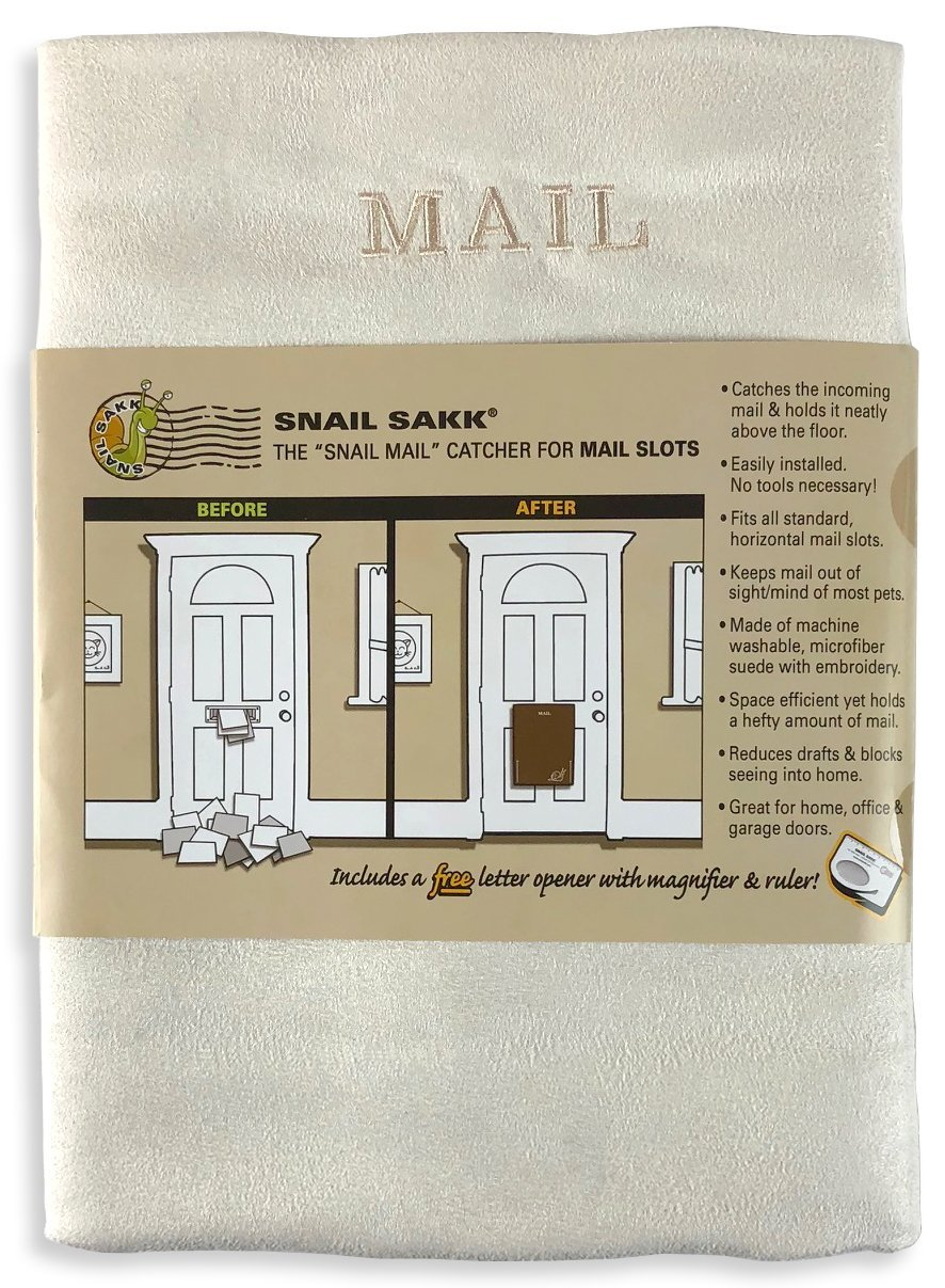 SNAIL SAKK: Mail Catcher For Mail Slots - CREAM. No tools/screws necessary! Space efficient, reduces drafts, and more! For home, office, and garage doors. | Basket, Letter Cage, Door, Bag |