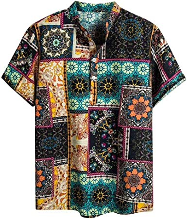 Coersd T Shirts Mens Cotton Linen Printed Short Sleeve Casual Shirts Tie Summer Tops