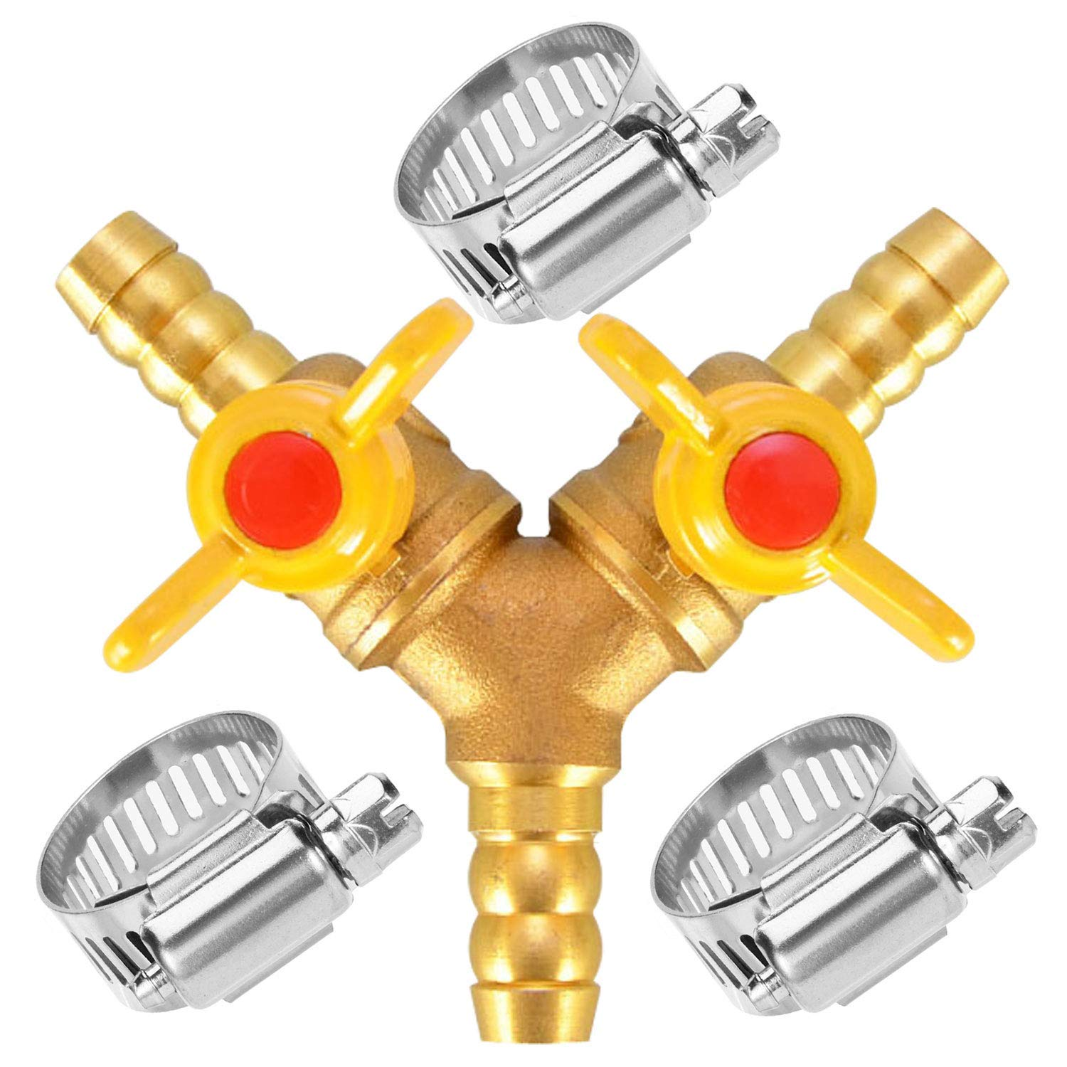 """Da by Hose Barb Ball Valve 3/8"""" Brass Fitting Y Shaped 2 Switch 3 Way Connector(for Hose ID 10mm-11mm)"""